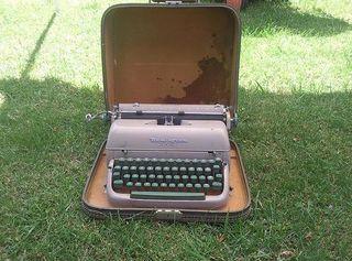 Typewriter in suitcase