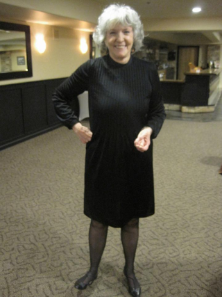 Sue grafton in the original all purpose black dress  daughter Jamie