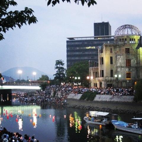 Hand drawn lanterns, Hiroshima, august 6 2016